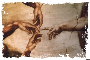 USA - 1997: Hiram Henriquez color illustration of hand of God reaching to touch three human hands. Can be used with stories about cloning. (The Miami Herald/MCT via Getty Images)